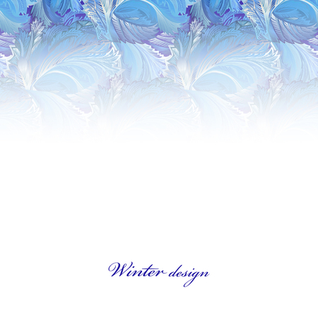 frozen glass: Winter holyday blue frost background. Blue, cyan and white horizontal top design banner with snow hoar frost ice for winter holiday template. Frozen glass decor. Vector illustration stock vector. Illustration