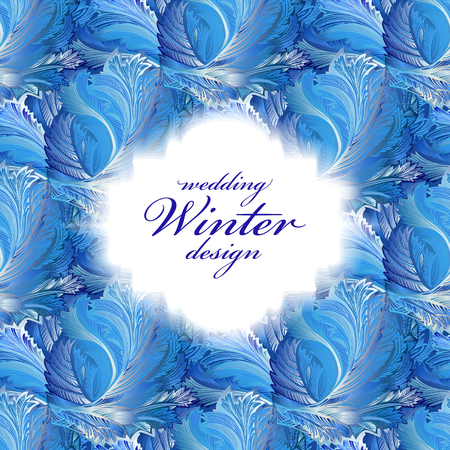 frozen glass: Label with text place and frozen glass decor pattern. Winter holyday blue frost background. White design banner with snow hoar frost ice for winter holiday template. Vector illustration stock vector. Illustration