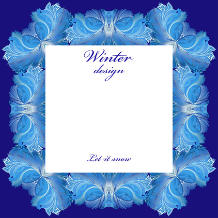 frozen glass: Square frame frozen glass decor. Winter holyday blue frost background. Blue, cyan and white design banner with snow hoar frost ice for winter holiday template. Vector illustration stock vector.