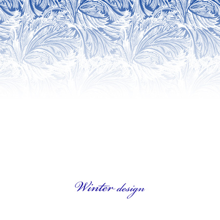 Top part frozen glass decor. Winter holyday blue frost background. Blue, cyan and white horizontal top design banner with snow hoar frost ice for winter holiday template. Vector illustration stock vector.