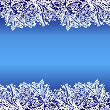 frozen glass: Horizontal frame frozen glass decor. Winter holyday blue frost background. Blue, cyan and white design banner with snow hoar frost ice for winter holiday template. Vector illustration stock vector.