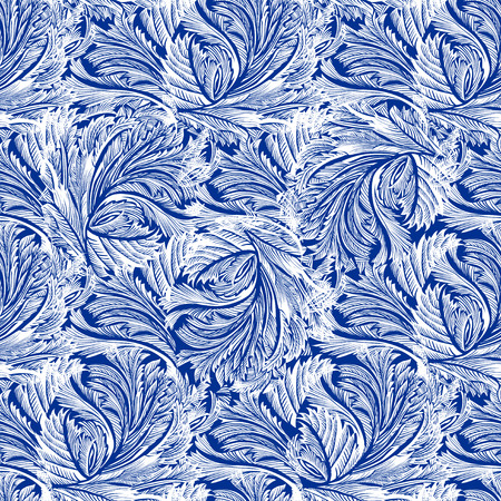 Winter holyday blue frost seamless pattern background. Blue and white design with snow hoar frost ice for winter holiday template. Frozen glass decor. Vector illustration stock vector.