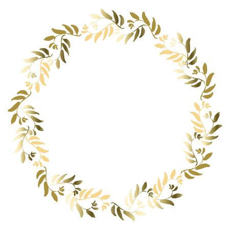 グリーティング カード、招待状、結婚式招待状のデザインの花柄ゴールド サークル フレーム。テキストと黄金の葉でリース ラウンドを配置します