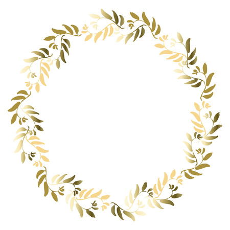Floral gold circle frame for greeting card, invitation, wedding invitation designs. Round wreath with golden leaves with text place. Vector illustration stock vector. 向量圖像