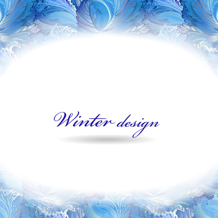 frozen glass: Frozen glass decor. Winter holiday blue frost background. Blue, cyan and white horizontal top design banner with snow hoar frost ice for winter holiday template. Vector illustration stock vector.