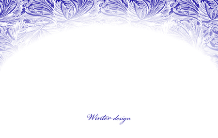 frozen glass: Top part frozen glass decor. Winter holiday blue frost background. Blue, cyan and white horizontal top design banner with snow hoar frost ice for winter holiday template. Vector illustration stock vector.