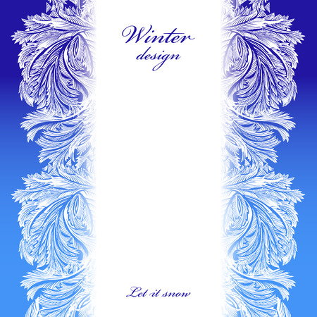 frozen glass: Border frozen glass decor. Winter holiday blue frost background. Blue, cyan and white vertikal design banner with snow hoar frost ice for winter holiday template. Vector illustration stock vector. Illustration