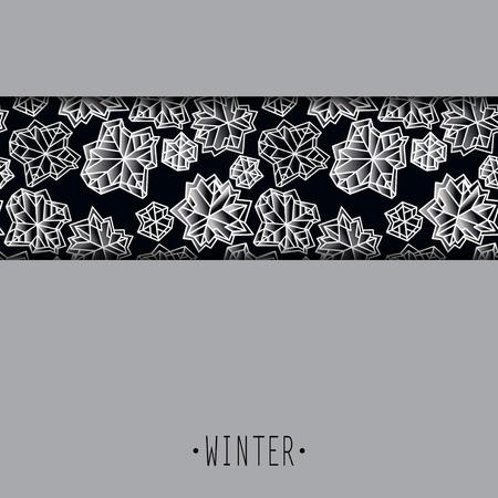 Horizontal border frame. Winter polygonal trendy style snowflakes on black white background. Winter holidays snowfall concept winter label. Fall snowflake vector illustration stock vector.