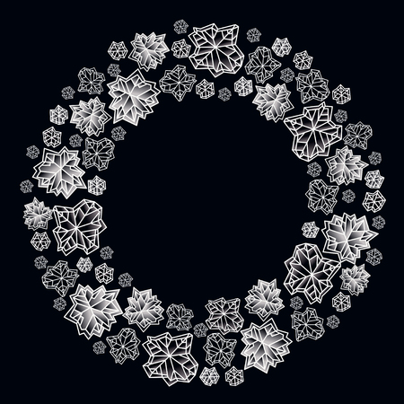 Round circle frame. Winter polygonal trendy style snowflakes on black white background. Winter holidays snowfall concept winter label. Fall snowflake vector illustration stock vector. Illustration