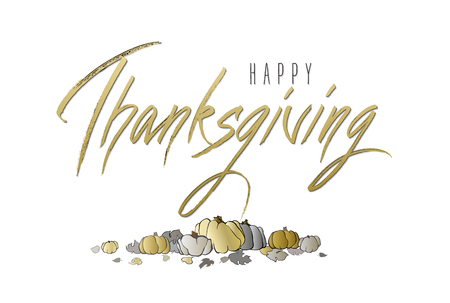 good wishes: Happy Thanksgivingl - hand drawn lettering calligraphy text on horizontal white background isolated with gold pumpkins design. Good wishes for thanksgiving day. Illustration