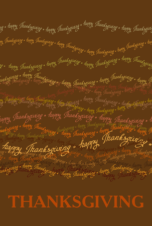 good wishes: Happy Thanksgiving day vertical design with horizontal seamless border of happy thanksgiving text lines. Good wishes for grateful cards.