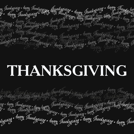 good wishes: Happy Thanksgiving day horizontal frame with happy thanksgiving text line seamless border. Gray scale colors. Good wishes for grateful cards. Illustration