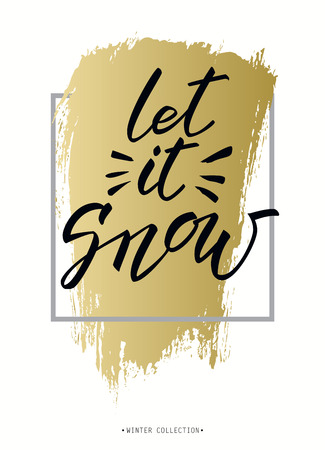 let it snow: Vertical border frame. Let it snow lettering. Winter polygonal trendy style snowflakes on gold white. Winter holidays snowfall concept label. Illustration