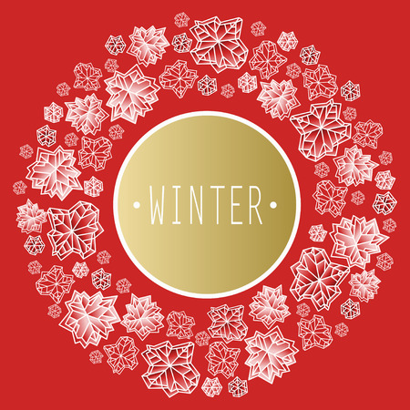 Round circle frame. Winter polygonal trendy style snowflakes on red background. Winter holidays snowfall concept with winter label.