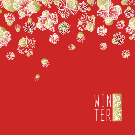 Horizontal border frame. Winter polygonal trendy style snowflakes on red gold background. Winter holidays snowfall concept winter label. Snowflake snow red white illustration stock