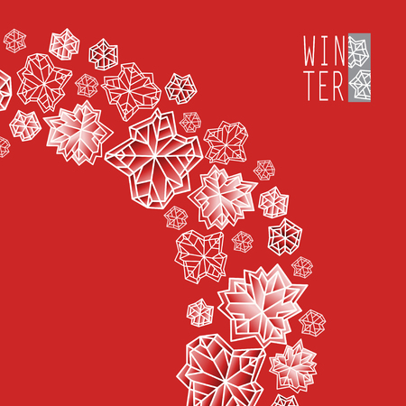 Swirl design. Winter polygonal trendy style snowflakes on red and gold background. Winter holidays snowfall concept winter label.