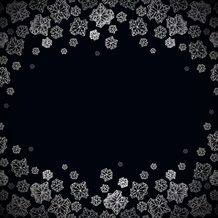 frost winter: Horizontal border frame. Winter polygonal trendy style snowflakes on black white background. Winter holidays snowfall concept winter label. Illustration