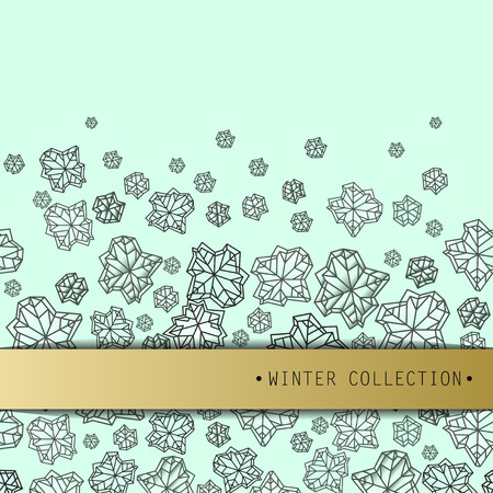 Horizontal seamless border frame. Winter polygonal trendy style snowflakes on mint gold background. Winter holidays snowfall concept. Vector illustration stock vector.