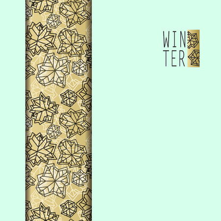 Vertical seamless border stripe design. Winter polygonal trendy style snowflakes on mint gold background. Winter holidays snowfall concept. Vector illustration stock vector.