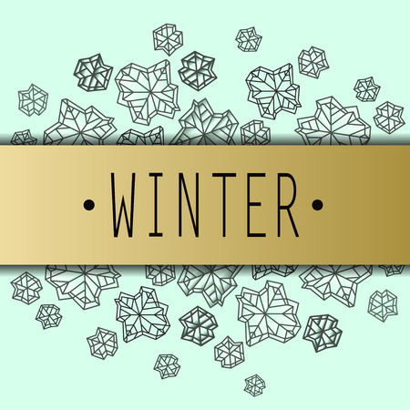 Horizontal border frame with winter label. Polygonal trendy style snowflakes on mint gold background. Winter holidays snowfall concept. Vector illustration stock vector. Illustration