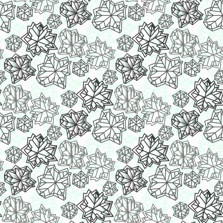 Seamless snowflake concept pattern. Polygonal trendy style snowflakes on mint green background. Winter holidays snowfall design. Vector illustration stock vector.