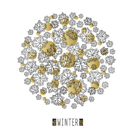 Round snowflakes concept design with winter label. Polygonal trendy style snowflakes on white gold background. Winter holidays snowfall design. Vector illustration stock vector. Illustration