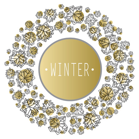 Round snowflakes concept design with winter label. Polygonal trendy style snowflakes on gold white background. Winter holidays snowfall design. Vector illustration stock vector. Illustration