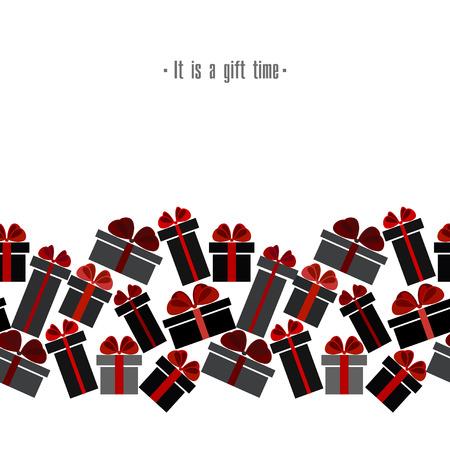 Confine senza cuciture orizzontale dei contenitori di regalo bianco rosso nero nero di vendita di Black Friday. Design di vendita Light Black Friday. Illustrazione vettoriale stock vettoriale.