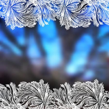 Winter blue blur background with frost hoar border frame. Horizontal frozen glass design. Vector illustration stock vector.