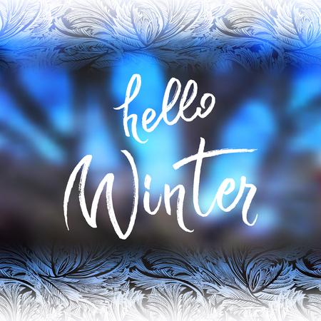 Hoar frost horisontal border frame with blue blur winter background. Hello winter brush lettering calligraphy. Frozen glass design. Vector illustration stock vector. Illustration