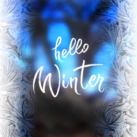 Hoar frost vertical border frame with blue blur winter background. Hello winter brush lettering calligraphy. Frozen glass design.Vector illustration stock vector. Illustration