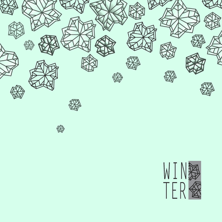 Horizontal border frame. Winter polygonal trendy style snowflakes on green mint background. Winter holidays snowfall concept. Vector illustration stock vector. Illustration