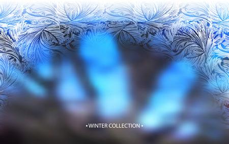 Winter blue blur background with frost hoar border frame. Horizontal arc frozen glass design. Vector illustration stock vector. Illustration