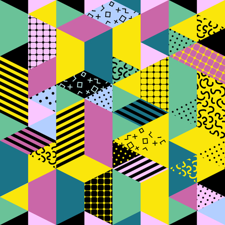 Memphis seamless pattern of geometric shapes. Abstract 1980-90 styles design. Trendy memphis style. Colorful geometric hipster poster background. Vector illustration stock vector. Imagens - 66844075