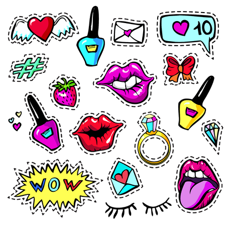 Decorative fashion patch badges set with colorful girls elements. Girl patches in comic cartoon 80-90 style. Vector illustration stock vector.
