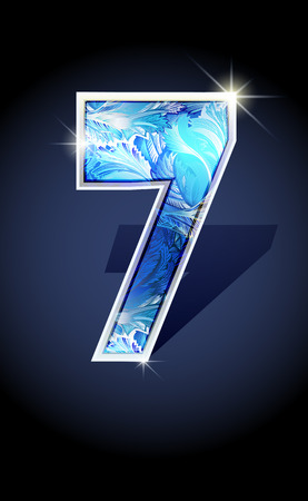january 1st: Blue frost winter number seven on dark background isolated. Blue frost illustration number 7 for winter 2017 date design. Number 7 icon. Vector illustration stock vector.