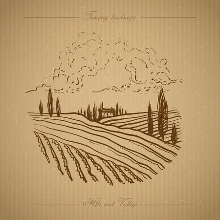 old farm: Tuscany landscape with fields, hills. Hand drawn vineyard or olives gardens rural landscape. Travel sketch old farm house. For farmer brochure travel, label. Vector illustration stock vector. Illustration