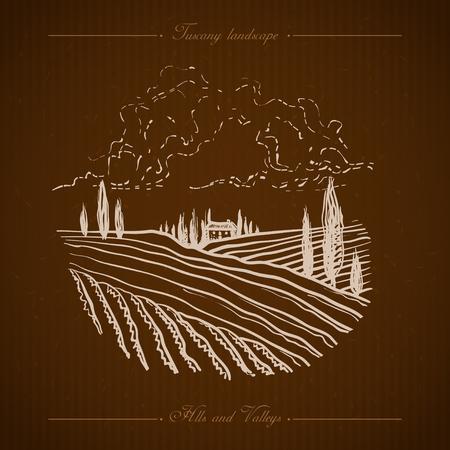 Tuscany landscape with fields, hills. Hand drawn vineyard or olives gardens rural landscape. Travel sketch old farm house. For farmer brochure travel, label. Vector illustration stock vector. Illustration