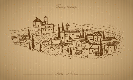 old farm: Tuscany landscape with fields hills. Horizontal hand drawn vineyard or olives gardens rural landscape. Travel sketch old farm house. For farmer brochure travel label. Vector illustration stock vector Illustration
