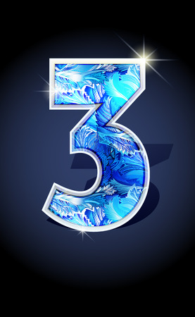january 1st: Blue frost winter number three on dark background isolated. Blue frost illustration number 3 for winter date design. Number 3 icon. Vector illustration stock vector. Illustration