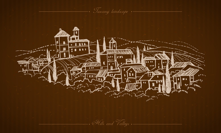 backdrop design: Tuscany Landscape hand drawn illustration Illustration