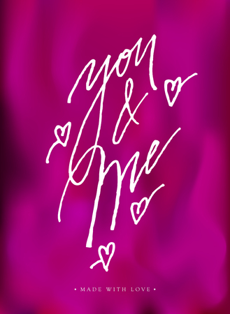 You And Me Love Calligraphy Valentines Day Romantic Greeting