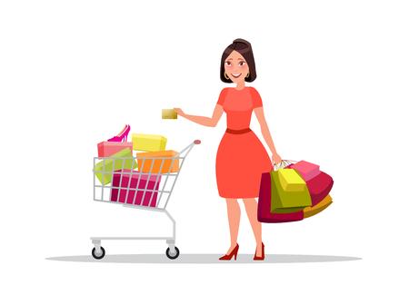mujer en el supermercado: Happy shopping girl or woman with bags. Big Sale.