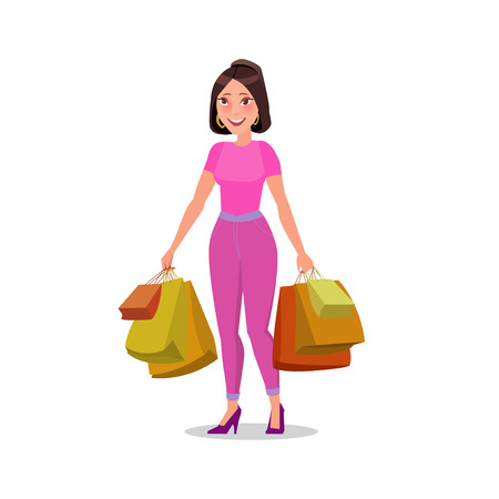 happy shopper: Happy shopping girl or woman with bags. Big Sale.