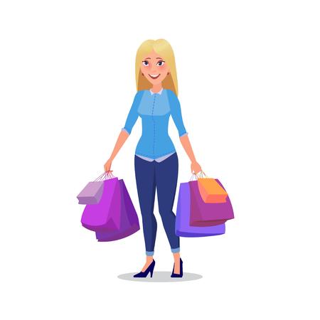 Feliz compra chica o mujer con bolsas. Gran venta. Vectores