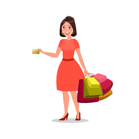 Happy shopping girl or woman with bags. Big Sale.