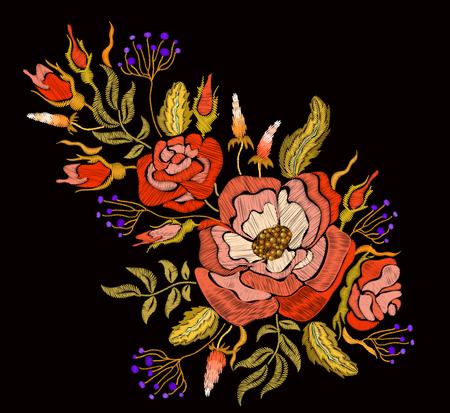 broderie florale de mode. Vecteurs