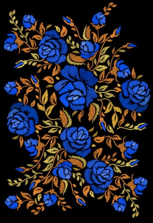 Ethnic embroidery blue rose flowers floral design. Fashion satin stitch stitches ornament on black for textile, fabric traditional folk decoration. Vector illustration stock vector.