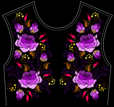 Ethnic embroidery purple peony flowers and herbs floral design for neckline. Fashion satin stitch stitches ornament on black for textile, fabric traditional folk decoration. Vector illustration stock vector.