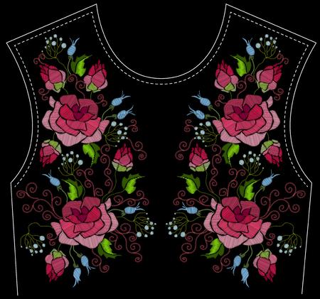 Broderie ethnique fleurs rose pivoine fleurs design floral pour l'encolure.